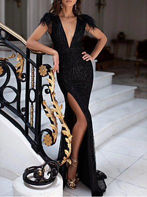 cheap Evening Dresses-Mermaid / Trumpet Sexy Black Engagement Formal Evening Dress V Neck Sleeveless Sweep / Brush Train Sequined with Sequin Split 2020