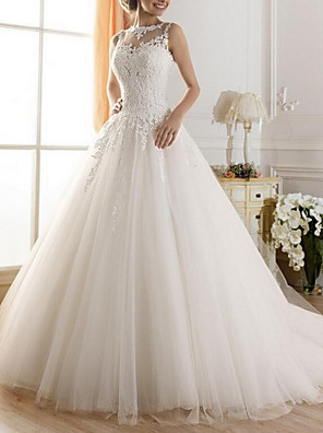 cheap Wedding Dresses-A-Line Wedding Dresses Jewel Neck Sweep / Brush Train Tulle Regular Straps Glamorous Illusion Detail Backless with Lace Insert 2020