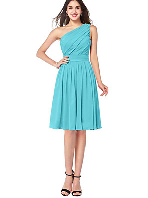 cheap Bridesmaid Dresses-A-Line One Shoulder Knee Length Chiffon Bridesmaid Dress with Ruching / Pleats