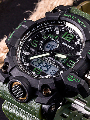 cheap Digital Watches-SANDA Men's Sport Watch Smartwatch Wrist Watch Digital Fashion Water Resistant / Waterproof Silicone Black / White / Brown Analog - Digital - Black Red Orange Two Years Battery Life / Stainless Steel