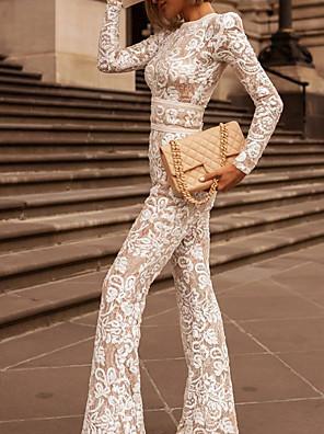 povoljno Ženski jednodijelni kostimi-Žene Osnovni Uski okrugli izrez Crn Obala Wide Leg Jumpsuits Onesie, Geometrijski oblici Čipka S M L Proljeće Ljeto Jesen / Zima