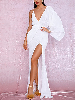 cheap Evening Dresses-Sheath / Column Open Back Formal Evening Dress Plunging Neck Sleeveless Sweep / Brush Train Chiffon with Split Front 2020