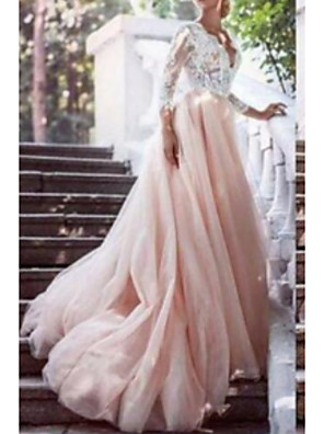 cheap Wedding Dresses-A-Line Wedding Dresses V Neck Chapel Train Lace Tulle Long Sleeve with Draping Appliques 2020