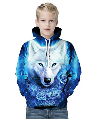cheap Boys' Tops-Kids Boys' Active Punk & Gothic Lion Color Block 3D Animal Long Sleeve Hoodie & Sweatshirt Blue