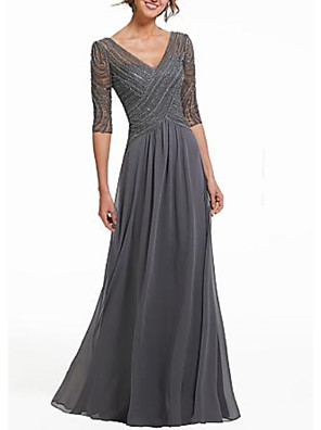cheap Mother of the Bride Dresses-A-Line Open Back Formal Evening Dress Plunging Neck Half Sleeve Floor Length Chiffon Sequined with Pleats Sequin 2020