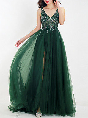 cheap Evening Dresses-A-Line Empire Green Wedding Guest Prom Dress V Neck Sleeveless Floor Length Tulle with Beading Split Appliques 2020