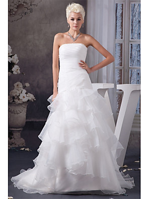 cheap Bridesmaid Dresses-Mermaid / Trumpet Wedding Dresses Strapless Chapel Train Organza Satin Strapless Plus Size with Ruched Cascading Ruffles 2020