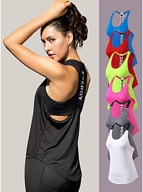 cheap Women's Blouses & Shirts-YUERLIAN Women's Running Tank Top T Back White Black Red Fuchsia Blue Mesh Spandex Yoga Fitness Gym Workout Vest / Gilet Sport Activewear Lightweight 4 Way Stretch Breathable Quick Dry Moisture
