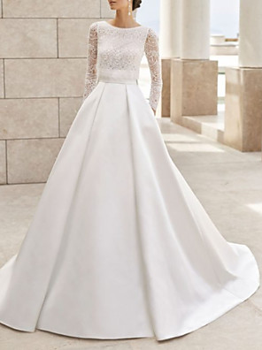 cheap Wedding Dresses-A-Line Wedding Dresses Jewel Neck Court Train Lace Satin Long Sleeve Simple Elegant with Lace Insert 2020