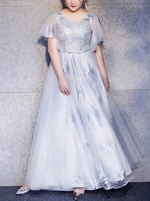 cheap Bridesmaid Dresses-A-Line Jewel Neck Floor Length Polyester Bridesmaid Dress with Embroidery