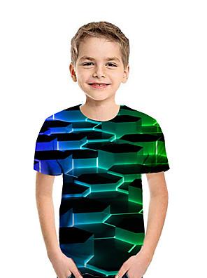 cheap Boys' Tops-Kids Boys' Active Street chic Geometric 3D Patchwork Print Short Sleeve Tee Rainbow