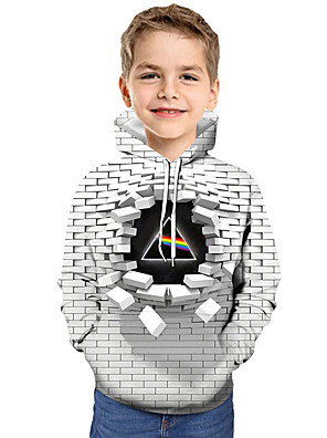 cheap Boys' Tops-Kids Toddler Boys' Active Basic Geometric Color Block 3D Print Long Sleeve Hoodie & Sweatshirt White