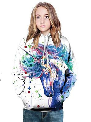 cheap Boys' Tops-Kids Girls' Active Punk & Gothic Lion Print Color Block 3D Long Sleeve Hoodie & Sweatshirt White