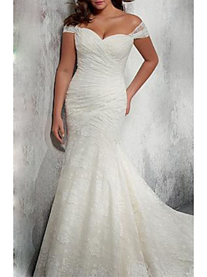 cheap Wedding Dresses-Mermaid / Trumpet Wedding Dresses Off Shoulder Court Train Chiffon Lace Cap Sleeve with Ruched 2020