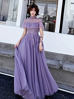 cheap Evening Dresses-A-Line Empire Purple Prom Formal Evening Dress High Neck Short Sleeve Floor Length Tulle with Ruffles Appliques 2020