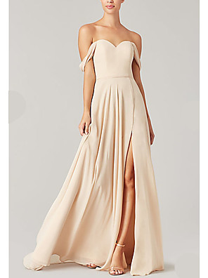 cheap Evening Dresses-A-Line Off Shoulder Floor Length Chiffon Bridesmaid Dress with Split Front / Ruching