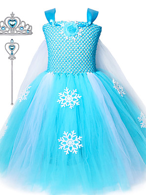 cheap Girls' Dresses-Kids Girls Snow Elsa Frozen Dress Princess Tutu Dresses Cosplay Costume Crown Wand Set Ice Snow Skirt For Girls