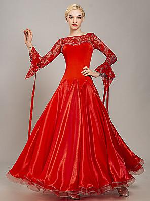 cheap Evening Dresses-Ballroom Dance Dress Lace Crystals / Rhinestones Women's Training Performance Long Sleeve Lace Tulle