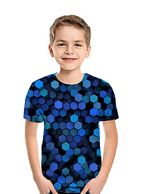 cheap Boys' Tops-Kids Boys' Active Street chic Geometric 3D Patchwork Print Short Sleeve Tee Blue