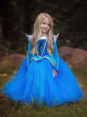 cheap Girls' Dresses-Cinderella Princess Aurora Dress Flower Girl Dress Kid's Girls' A-Line Slip Christmas Halloween Masquerade Festival / Holiday Polyster Blue / Pink Carnival Costumes Color Block