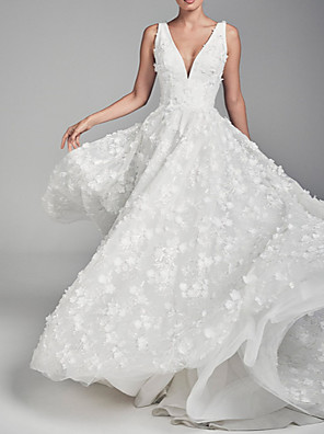 cheap Evening Dresses-A-Line Wedding Dresses V Neck Court Train Chiffon Tulle Regular Straps with Draping Appliques 2020