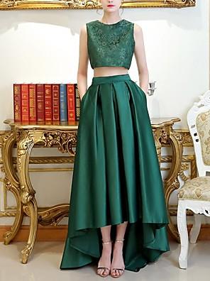 cheap Bridesmaid Dresses-A-Line Jewel Neck Asymmetrical Satin Bridesmaid Dress with Pleats