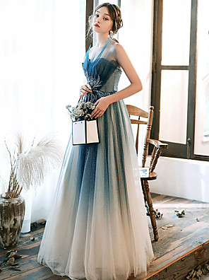cheap Prom Dresses-A-Line Elegant Turquoise / Teal Prom Formal Evening Dress Strapless Sleeveless Floor Length Tulle with Beading Appliques 2020