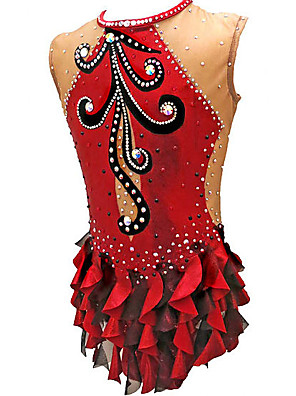 cheap Gymnastics-21Grams Rhythmic Gymnastics Leotards Artistic Gymnastics Leotards Women's Girls' Leotard Red Spandex High Elasticity Handmade Jeweled Diamond Look Sleeveless Competition Dance Rhythmic Gymnastics