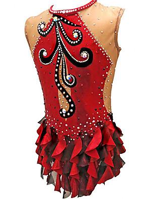 cheap Mini Dresses-21Grams Rhythmic Gymnastics Leotards Artistic Gymnastics Leotards Women's Girls' Leotard Red Spandex High Elasticity Handmade Jeweled Diamond Look Sleeveless Competition Dance Rhythmic Gymnastics