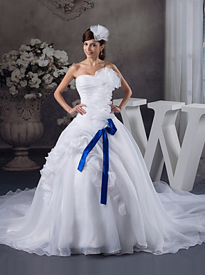 cheap Wedding Wraps-Ball Gown Wedding Dresses Strapless Chapel Train Organza Satin Strapless with Pick Up Skirt Ruched Cascading Ruffles 2020