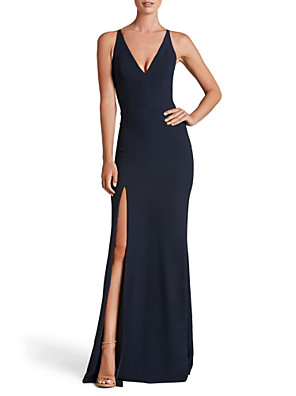 cheap Evening Dresses-Sheath / Column Minimalist Black Wedding Guest Formal Evening Dress V Neck Sleeveless Floor Length Jersey with Split Front 2020