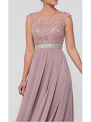 cheap Prom Dresses-A-Line Mother of the Bride Dress Elegant & Luxurious Jewel Neck Floor Length Chiffon Lace Sleeveless with Lace Crystals Ruching 2020