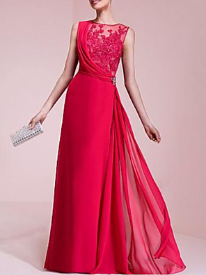 cheap Evening Dresses-A-Line Beautiful Back Formal Evening Dress Jewel Neck Sleeveless Floor Length Chiffon Lace with Lace Insert Crystal Brooch 2020