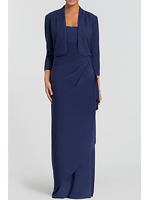 cheap Mother of the Bride Dresses-Sheath / Column Mother of the Bride Dress Elegant & Luxurious Square Neck Floor Length Charmeuse Long Sleeve with Split Front Ruching 2020