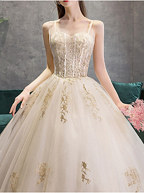 cheap Wedding Dresses-Ball Gown Wedding Dresses Sweetheart Neckline Court Train Polyester Spaghetti Strap with Beading Lace Insert 2020