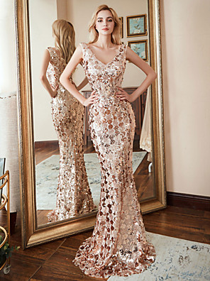 cheap Prom Dresses-Mermaid / Trumpet Sexy Gold Prom Formal Evening Dress V Neck Sleeveless Sweep / Brush Train Nylon Polyester with Sequin Pattern / Print 2020