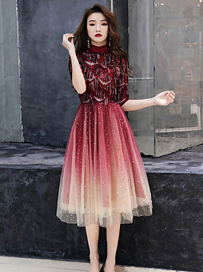 cheap Prom Dresses-A-Line Sparkle Red Cocktail Party Prom Dress High Neck Half Sleeve Tea Length Tulle with Sequin Tassel 2020