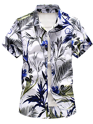cheap Men's Shirts-Men's Plus Size Floral Print Shirt Basic Daily White / Gray / Short Sleeve