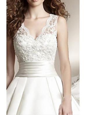 cheap Wedding Dresses-A-Line Wedding Dresses V Neck Court Train Lace Regular Straps with Buttons Appliques 2020