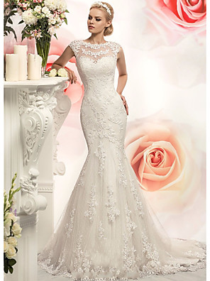 cheap Wedding Dresses-Mermaid / Trumpet Wedding Dresses Jewel Neck Court Train Lace Tulle Cap Sleeve with Appliques 2020