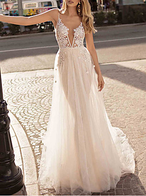 cheap Wedding Dresses-A-Line Wedding Dresses V Neck Sweep / Brush Train Lace Cap Sleeve with Beading Lace Insert 2020
