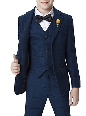 cheap Prom Dresses-Dark Navy Polyester Ring Bearer Suit - 1 Piece Includes  Coat / Vest / Shirt