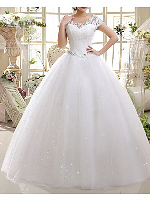 cheap Wedding Dresses-A-Line Wedding Dresses Jewel Neck Floor Length Lace Short Sleeve with Lace Insert Appliques 2020