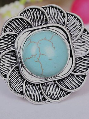 cheap Quartz Watches-Women's Adjustable Ring Turquoise 1pc Silver Alloy Cubic Vintage Daily Jewelry Flower Shape