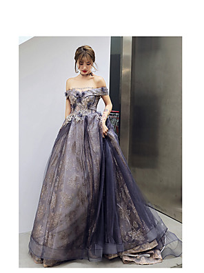 cheap Evening Dresses-A-Line Elegant Sparkle Wedding Guest Prom Formal Evening Dress Off Shoulder Sleeveless Court Train Satin Tulle Sequined with Appliques 2020