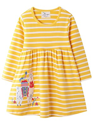 cheap Girls' Dresses-Kids Girls' Striped Dress Yellow