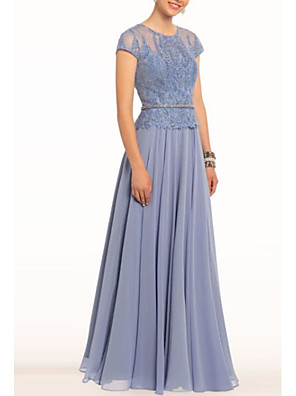 cheap Mother of the Bride Dresses-A-Line Elegant Engagement Formal Evening Dress Jewel Neck Short Sleeve Floor Length Chiffon with Sash / Ribbon Embroidery 2020