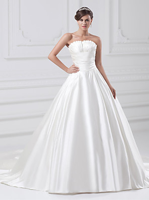 cheap Cocktail Dresses-Ball Gown Wedding Dresses Strapless Court Train Satin Strapless Plus Size with Ruched Draping 2020