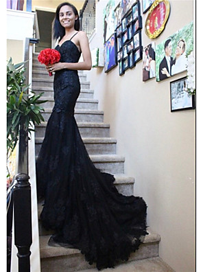 cheap Evening Dresses-Mermaid / Trumpet Wedding Dresses Sweetheart Neckline Chapel Train Lace Satin Tulle Spaghetti Strap Black with Appliques 2020