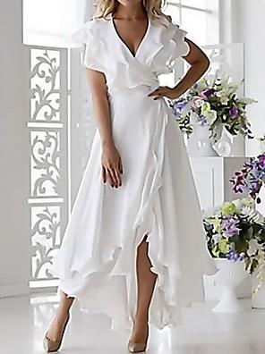 cheap Wedding Dresses-Women's Plus Size Wrap Dress - Sleeveless Ruffle Wrap Multi Layer Summer Deep V Sexy Holiday Vacation Beach 2020 White Dark Blue S M L XL XXL XXXL XXXXL XXXXXL